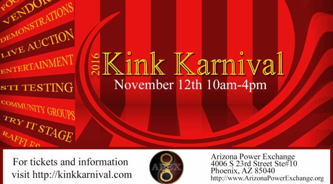 The 2016 APEX Kink Karnival is TOMORROW 11/12/16